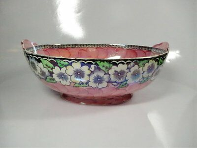 Maling Pottery Oval Bowl (Mid-century, Gloss Finish, Pink Interior)