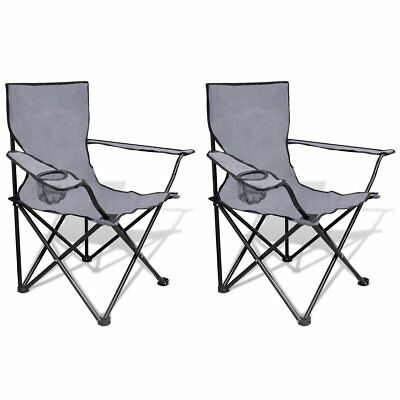 # 2X Folding Outdoor Travel Camping Fishing Chair PE Coating Seat Arm Picnic Gre