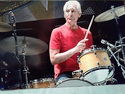 Charlie Watts Authentic Hand Signed 4X6 Photo - Rolling Stones Drummer