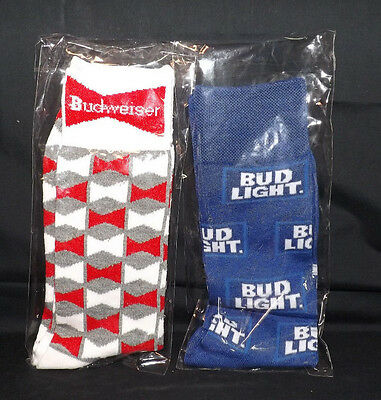 Budweiser and Bud Light Socks. A Pair Of Each. Brand New. Still in Packages