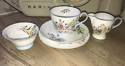 Shelley Wild Flowers 13668 Pattern Tea For 1 Set,Trio Plus Sugar & Milk Jug