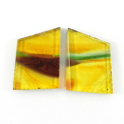 Top !! 1 Pair Mexican Glass Gemstone 14x19mm Fancy Cab 18.4 Cts Stone ER8994