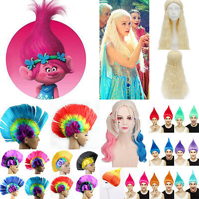Cosplay Wigs Trolls Poppy Daenerys Halloween Party Costume Adult Kids Hairpiece