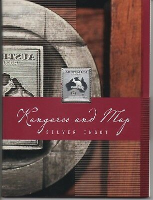 SILVER INGOT - TWO POUND STAMP - Kangaroo and Map - LIMITED EDITION
