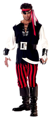 Mens Adult Cutthroat Pirate Halloween Costume Black Red and White Medium Size