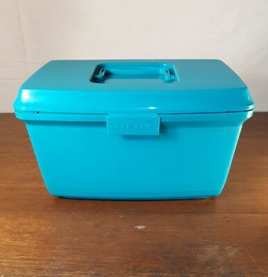 Vintage/ Retro Yellow 'SINGER' Plastic Sewing Box with Tray