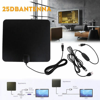 Indoor Amplified TV Aerial Digital HDTV Antenna Signal Booster 50 Miles Range UK