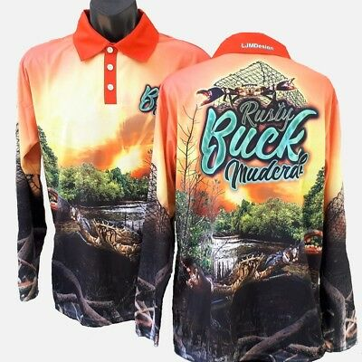 Rusty Buck Mudcrab Fishing Shirt Orange Mud Crab