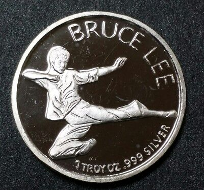 Rare Bruce Lee Silver Round 1970's Solid Pure Silver 1 oz 999 .999 Limited Coin