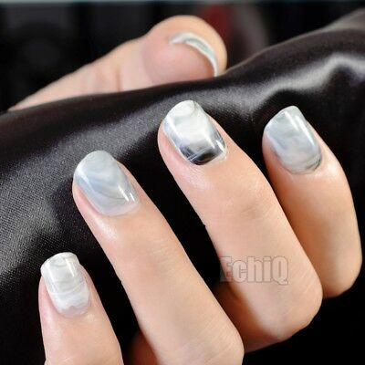 Squoval Short Press On Nails Marble Gray Stones Pattern Ladies Nails Z705