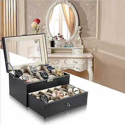 20 Slot Watch Display Storage Box Chest Jewellery Case Organiser for Men UK