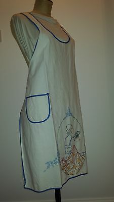 Vintage full length White Cotton  Hand Embroidered Apron
