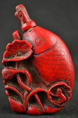 Exquisite Chinese Red Coral Hand Carved Lotus Leaf & Fish Snuff Bottle