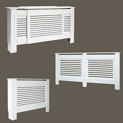 Radiator Covers Modern White Painted MDF Wall Cabinet Slatted Grill Furniture