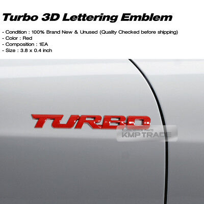 3D TURBO Lettering Logo Gloss Red Emblem Badge 1P for All Vehicle