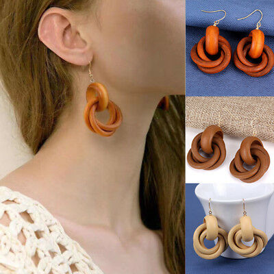 Fashion Wooden Round Spiral Personality Women Dangle Earrings Jewelry