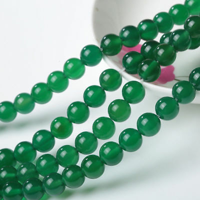 "8mm Natural Green Jadeite Jade Round Gemstone Loose Beads 15"" AAA"