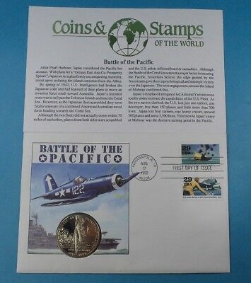 1992 First Day Cover Marshall Island $5 Coin Battle Of The Pacific  Collection