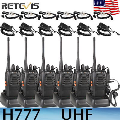 6* Two way Retevis H777 Walkie Talkie UHF 16CH CTCSS/DCS+ Mic+ Earpiece+Cable US