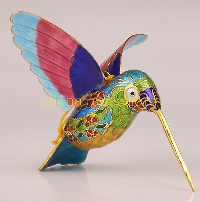 Cloisonne Animals Hummingbird Statue Noble Gift Craft Collectable