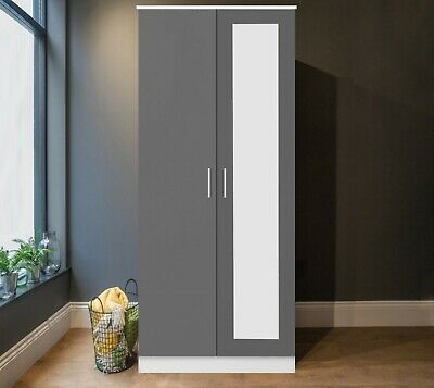 REFLECT 2 Door Soft Close Mirror Wardrobe in Gloss Grey / Matt White - Bedroom