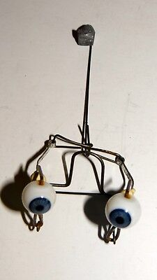 Antique German? Blue Blown Glass Round Doll Eyes Mechanical Moveable