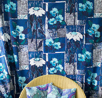 vintage unused 1950s blues abstract floral & check print cotton barkcloth fabric
