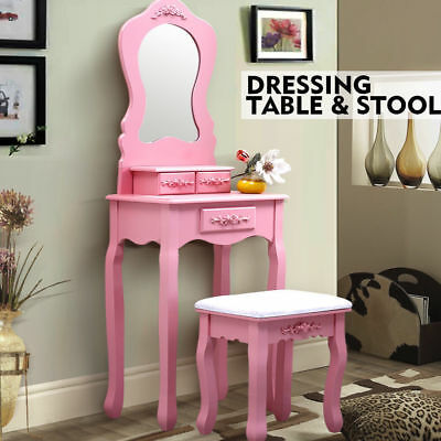 Luxury Dressing Table & Stool Mirrors Jewellery Cabinet Drawers Makeup Organizer