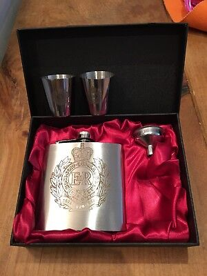 Royal Engineers Laser Engraved 6oz Stainless Steel Hip Flask Gift Set