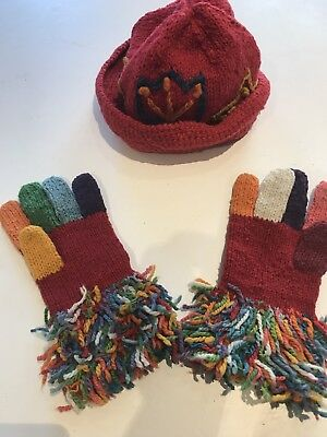Amano Adult Size Red Funky Hat And Glove Set