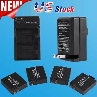 4 Pcs Original 3.7V 900mAh Li-ion Battery For SJCAM SJ4000 SJ5000+ Dual Charger