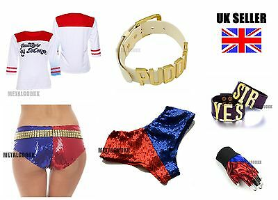 Suicide Squad Harley Quinn Costume Top Sequin Shorts Glove PUDDIN choker lot