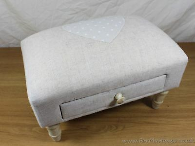 Cream fabric heart detail footstool with drawer & wooden legs pouffe
