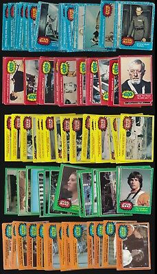 Star Wars - 164 Different Topps 1977 - 78 Blue Red Green Yellow & Orange Cards