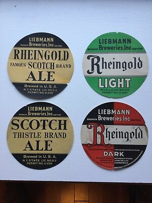 4 Different Beer Keg/Case Labels from Liebmann Breweries, Brooklyn, NY
