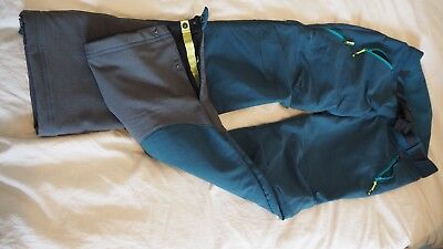 Quechua soft shell, warm, lovely green color hiking trousers, size small