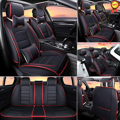 Deluxe 5-Seats Car PU leather Seat Cover Cushion Front+Rear w/Pillow Black w/Red