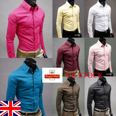 UK Mens Office Shirt Style Slim Blouse Casual Formal Classic Tops M-3XL Button
