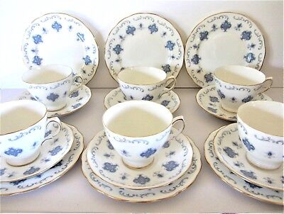 A Beautiful Royal Osborne 18 Piece Tea Set  Blue & Grey On White Pattern No.8324