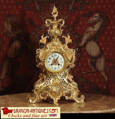 Large Original Antique French Gilt Brass Rococo Clock By Japy Freres 1880 Super