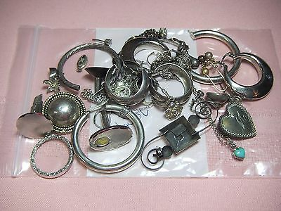 Vintage Scrap Sterling Silver Lot 80.8g Diamond Chip Lane Turquoise Heart Mexico