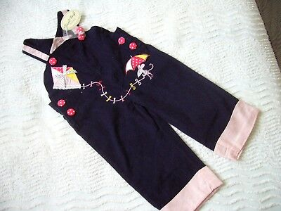 Bnwt Fine Cord Navy Blue Bibbed Trousers/dungarees 12-18 Month Emb. Detail