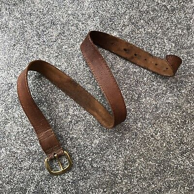 "Vintage Leather Belt with Brass Buckle Brown 30"" - 34"" - DP121"