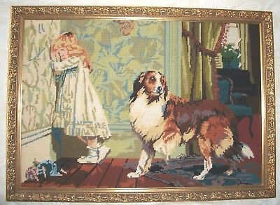 Framed Tapestry Repro Of A Painting By Famous Victorian Artist Charles Barber (