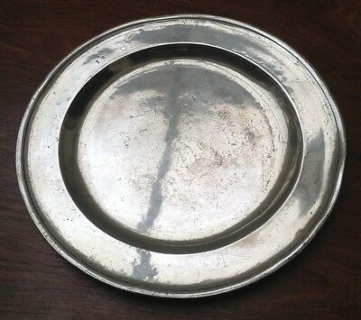 Antique Pewter Charger Plate - Early 18Th Century