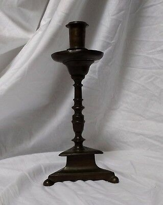 A Fine Early 17th Century Bronze Candlestick With Beautiful Patina C1600