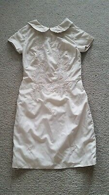 Genuine vintage dress from Mexico 1970's lace embroidered some flaws size 8