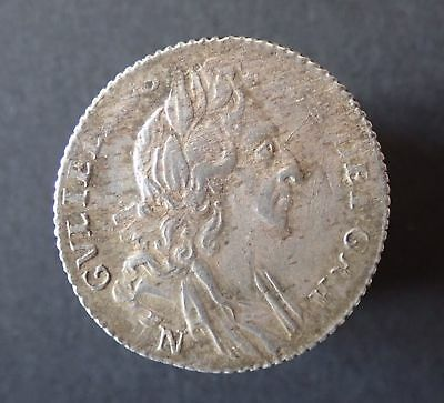 William III, sixpence, 1696 Norwich, 1st bust, early harp, GVF rusty dies