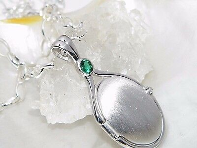 925 Sterling Silver 4mm Lab Emerald Locket H2O Just Add Water Mermaids+18.5Chain