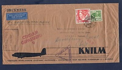 Netherlands Indies 1940 KNILM Singapore censored airmail cover to UK BOAC Qantas